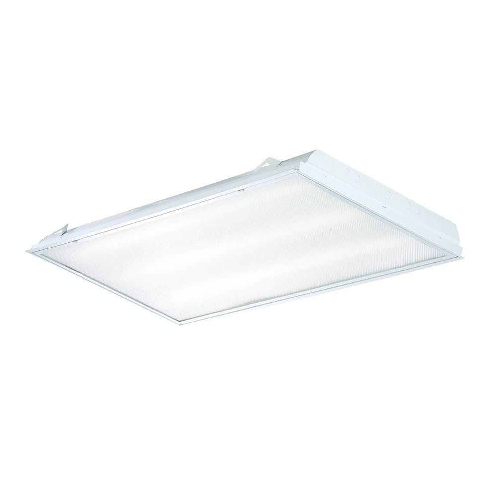 EnviroLite 2 ft. x 4 ft. 3-Light Prismatic Daylight T8 Tube Grid LED ...