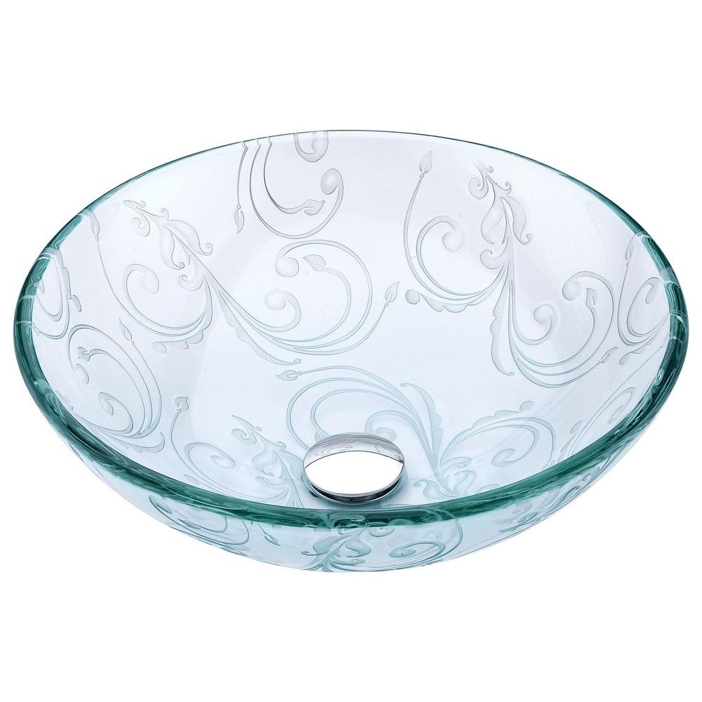 Vieno Series Vessel Sink with Pop-Up Drain in Crystal Clear Floral