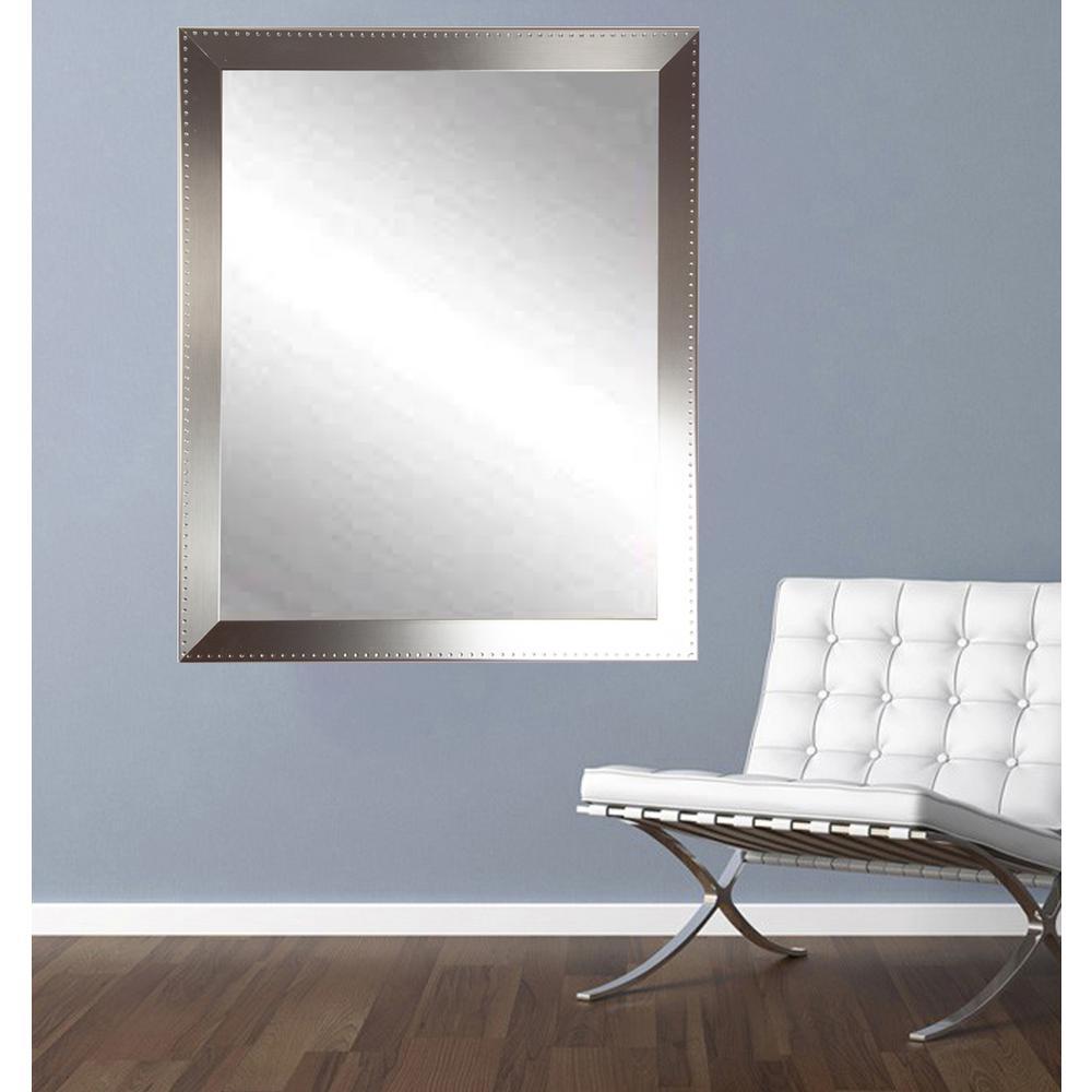 Embossed Steel Silver Vanity Wall Mirror
