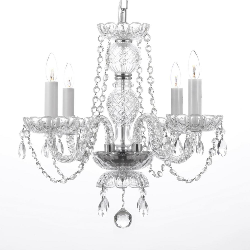 Venetian Style Empress 4-Light Crystal Plug In Chandelier