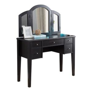 brand new e4ae2 47101 Benjara Spacious Brown Five Drawers Wooden Dressing Table ...