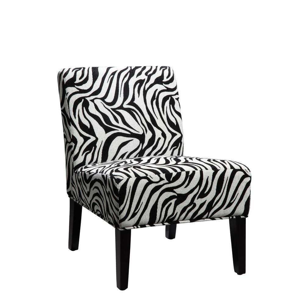 Home Decorators Collection Zebra Print Upholstered Lounge Chair-DISCONTINUED
