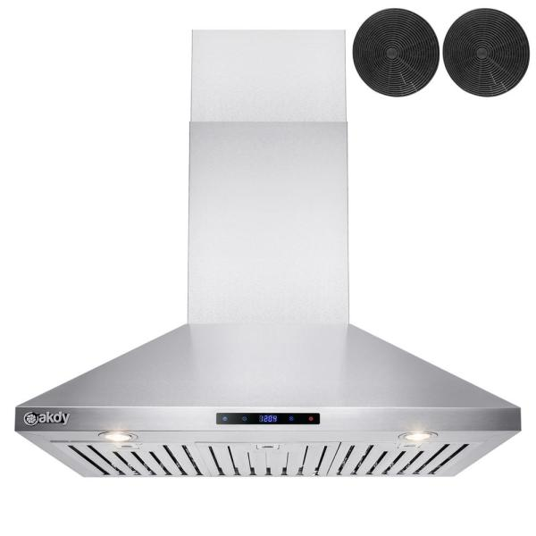 36 in. Convertible Kitchen Wall Mount Range Hood in Stainless Steel with Touch Control and Carbon Filter