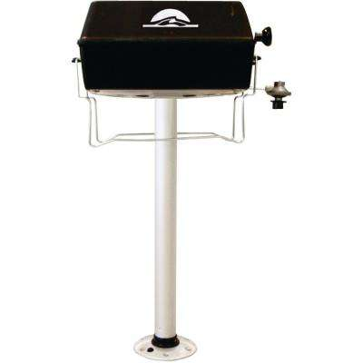 1-Burner Portable Propane Gas Grill With Thread Lock 29 in. Post in Black
