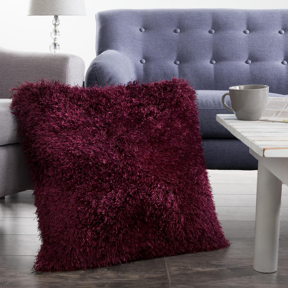 Lavish Home 18 in. x 18 in. Burgundy Shag Floor Decorative Pillow ...
