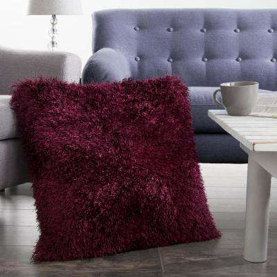 21 in. x 21 in. Burgundy Shag Floor Decorative Pillow