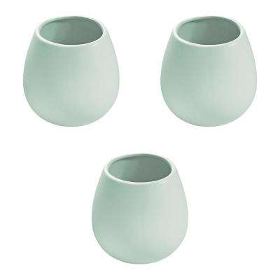 Round 3-1/2 in. x 4 in. Mint Ceramic Wall Planter (3-Piece)