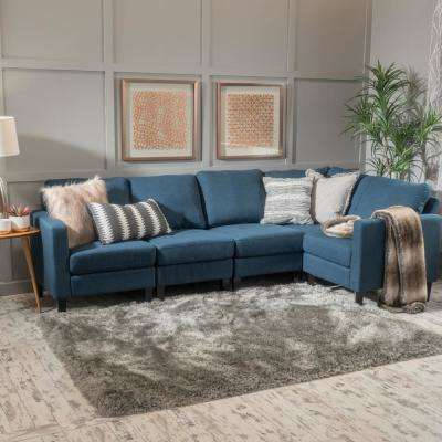 5-Piece Dark Blue Fabric Sectional