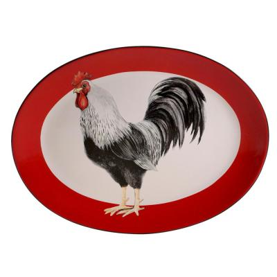 Homestead Rooster Multi-Colored 16 in. Earthenware Oval Platter