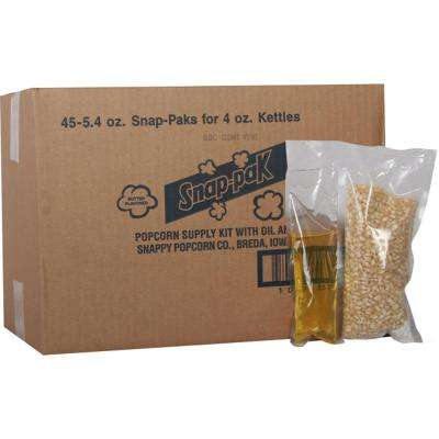 5.4 oz. White Popcorn, Oil and Seasoning Kit for 4 oz. Poppers (24-Pack)