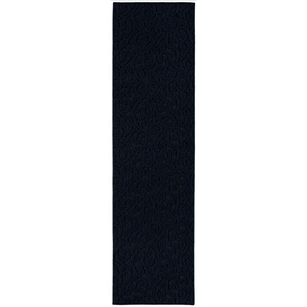 Ivy Dark Blue 3 ft. x 12 ft. Runner Rug