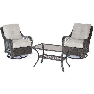 Merritt 3-Piece Metal Outdoor Conversation Chat Set with Gray Cushions