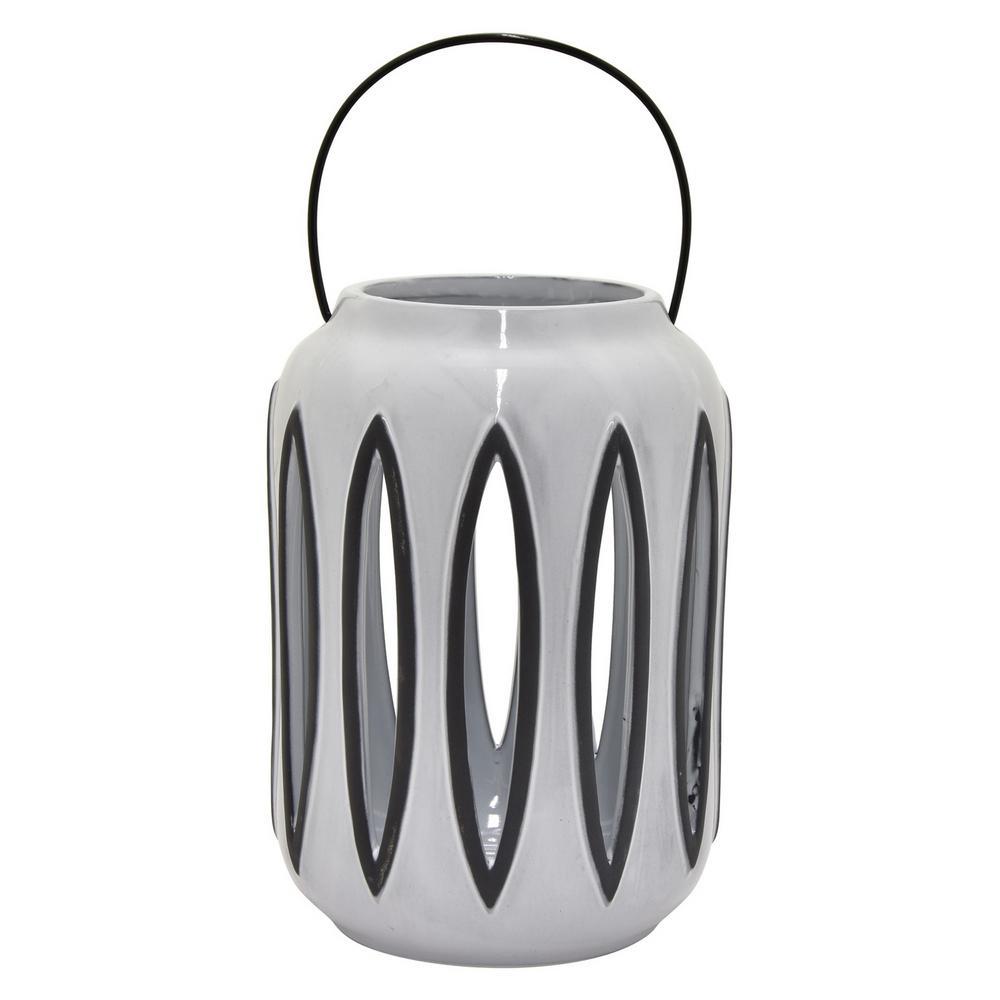8.75 in. Gray Ceramic Lantern