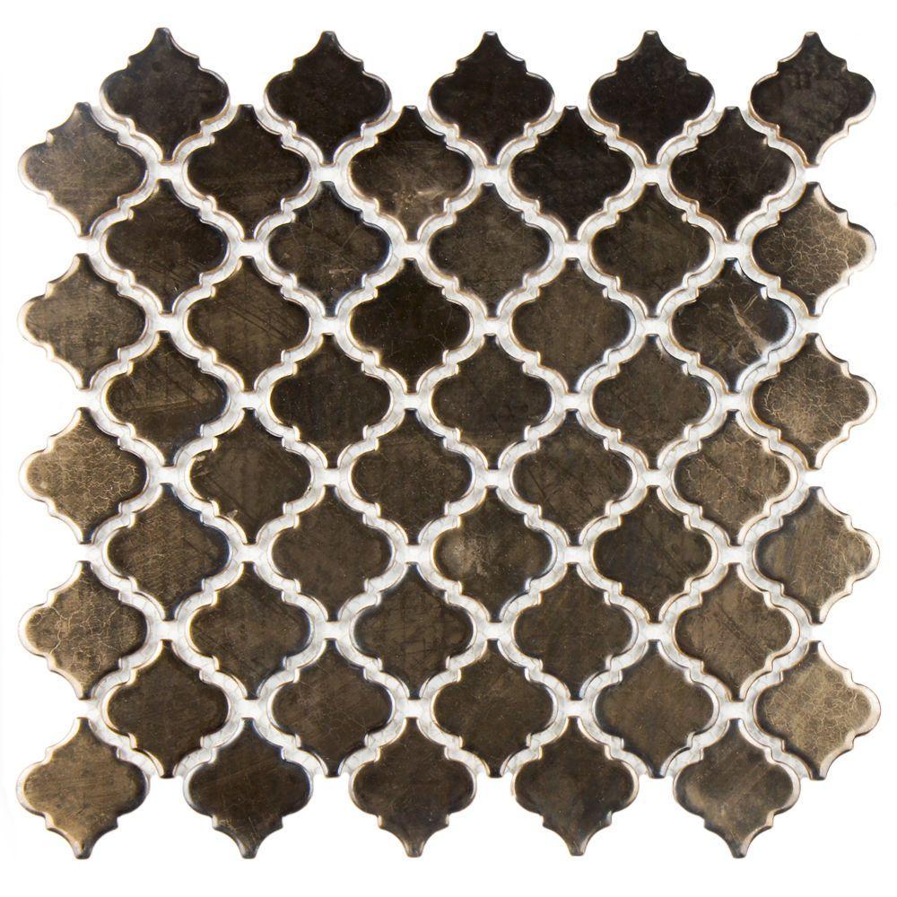 Merola Tile Hudson Tangier Gold 12 3 8 In X 1 2 5 Mm Porcelain Mosaic Fkoltr7g The Home Depot