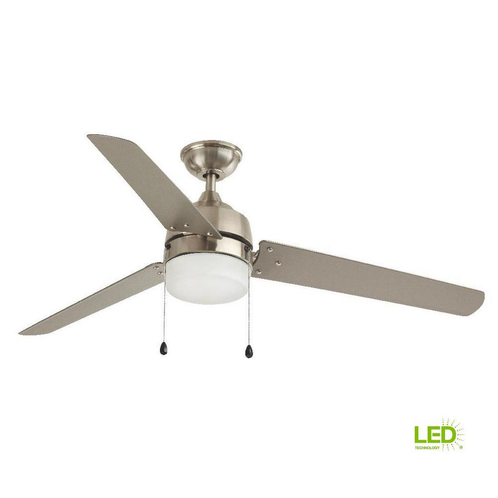 Home Decorators Collection Carrington 60 In Integrated Led Indoor Outdoor Brushed Nickel Ceiling Fan With Light Kit