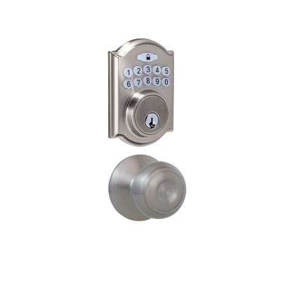 Castle Satin Nickel Keypad Deadbolt with Hartford Stain Nickel Hall and Closet Passage Knob