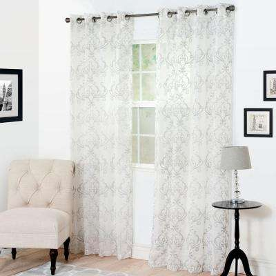 Semi-Opaque Valencia Silver Polyester Curtain Panel 54 in. W x 84 in. L