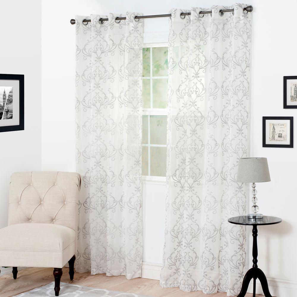 Semi-Opaque Valencia Silver Polyester Curtain Panel 54 in. W x 84 in. L