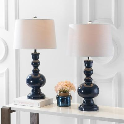 Genie 28.5 in. Navy Glass Table Lamp (Set of 2)