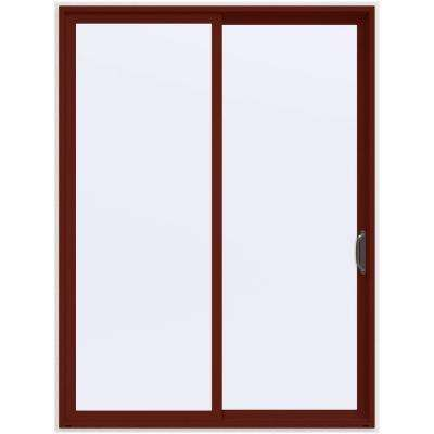 72 in. x 96 in. V-4500 Contemporary Red Painted Vinyl Right-Hand Full Lite Sliding Patio Door w/White Interior
