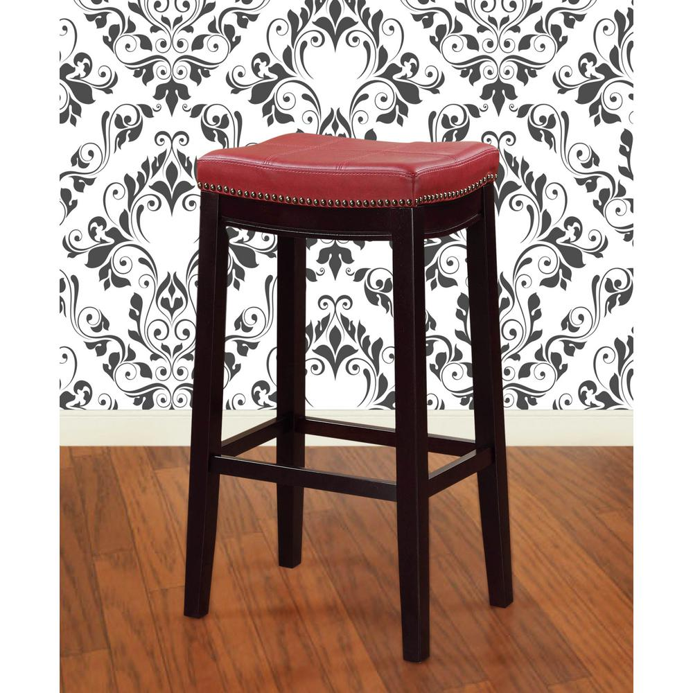 linon home decor claridge 24 in dark espresso and red cushioned bar stool 55815red01u the. Black Bedroom Furniture Sets. Home Design Ideas