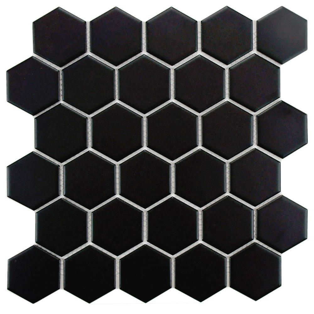 Merola Tile Metro Hex 2 in. Matte Black 10-1/2 in. x 11 in. x 5 mm Porcelain Mosaic Tile (8.21 sq. ft. / case)