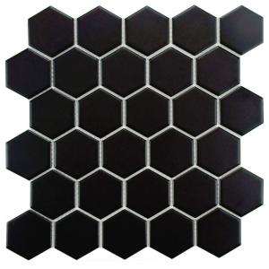 Metro Hex 2 in. Matte Black 10-1/2 in. x 11 in. x 5 mm Porcelain Mosaic Tile (8.02 sq. ft. / case)