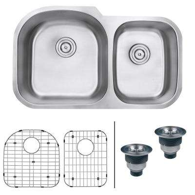 34 in. Double Bowl 60/40 Undermount 16-Gauge Stainless Steel Kitchen Sink - Left Configuration