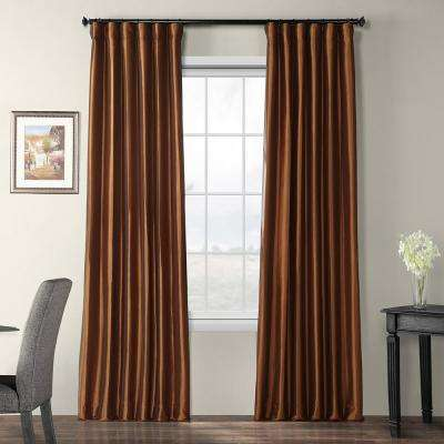 Copper Brown Blackout Faux Silk Taffeta Curtain - 50 in. W x 108 in. L