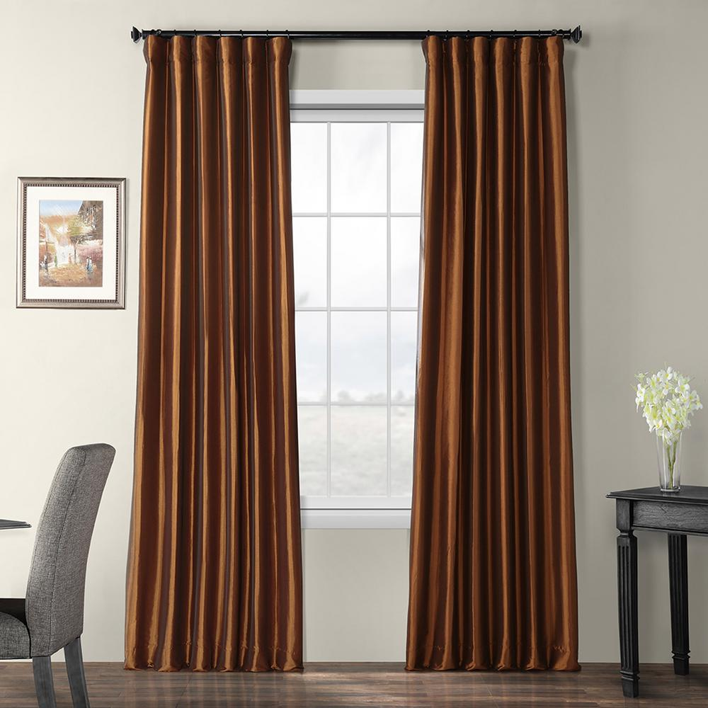 exclusive fabrics & furnishings copper brown blackout faux silk taffeta curtain - 50 in. w x 96
