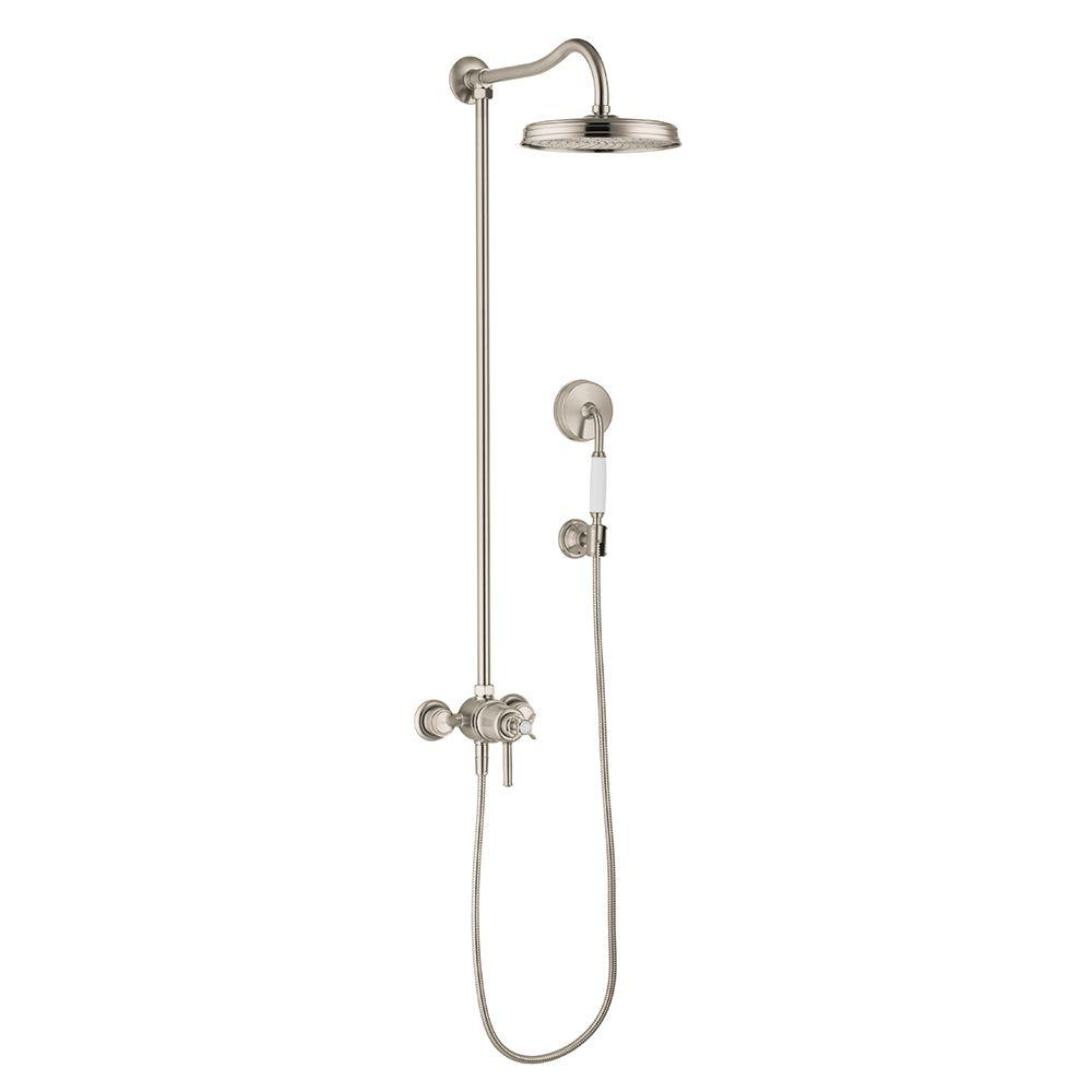 Montreux 1-Spray Handshower and Showerhead Combo Kit in Brushed Nickel (Valve