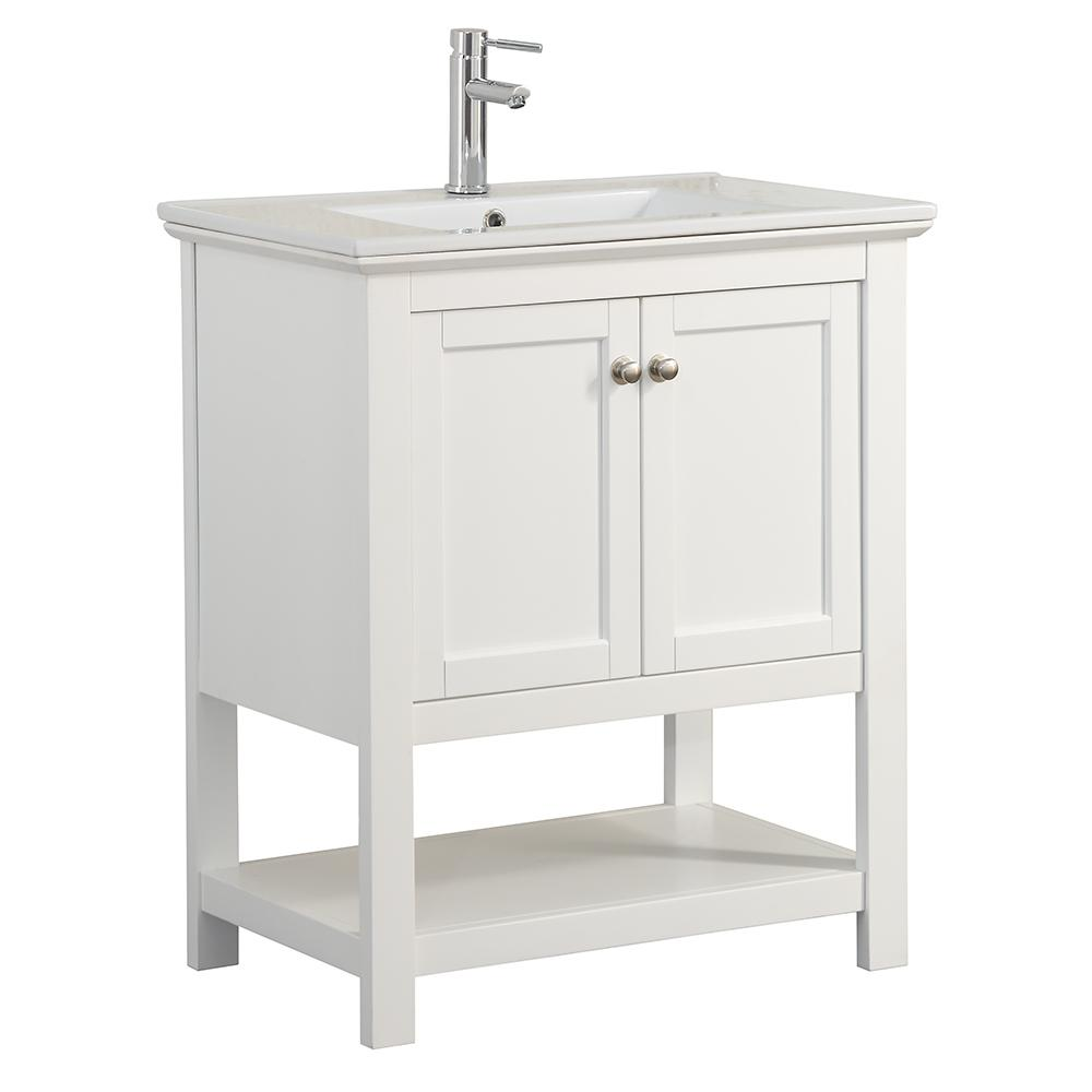 fresca bradford 30 in w traditional bathroom vanity in white with ceramic vanity top in white. Black Bedroom Furniture Sets. Home Design Ideas