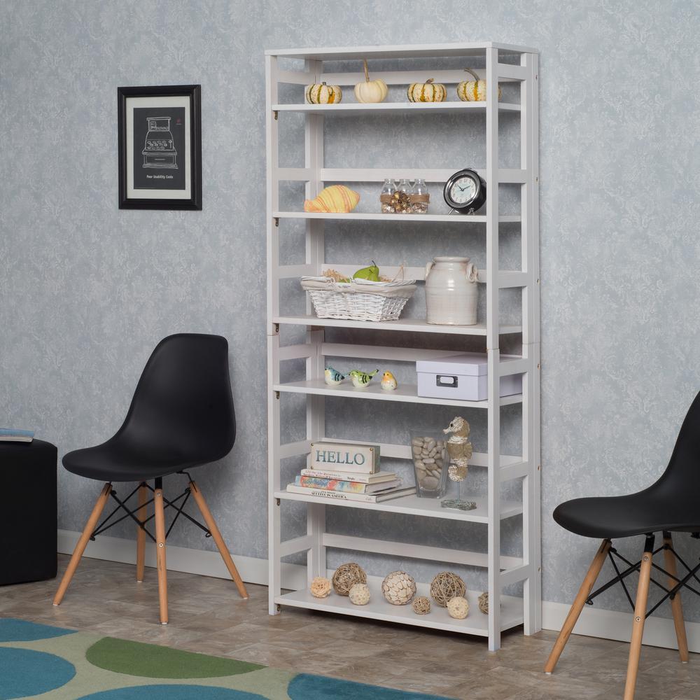 Flip Flop White 6-Shelf 30 in. Wide Folding Bookcase