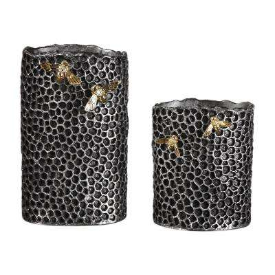 Hive Decorative Vases in Black (Set of 2)