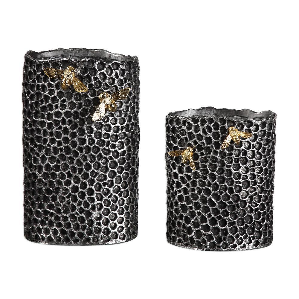 Hive Decorative Vases in Black (Set of 2)