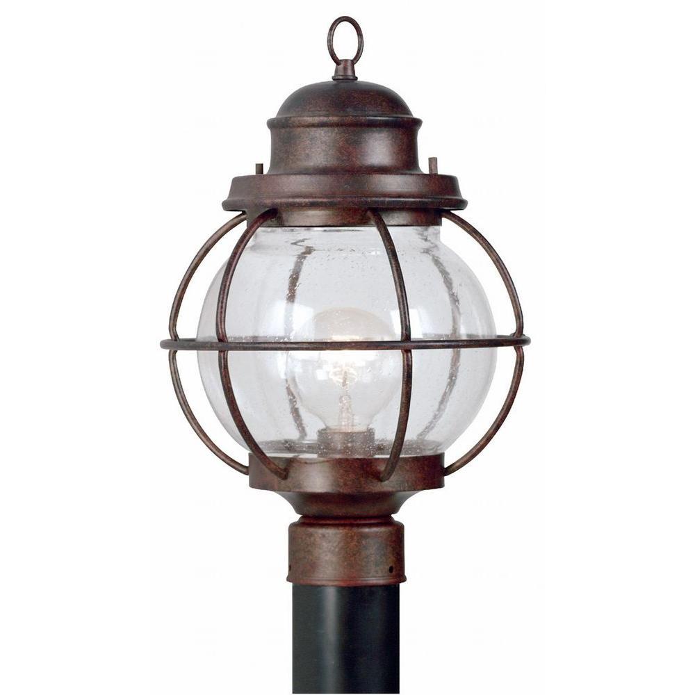 Hatteras 24 in. Gilded Copper 1-Light Post Lantern