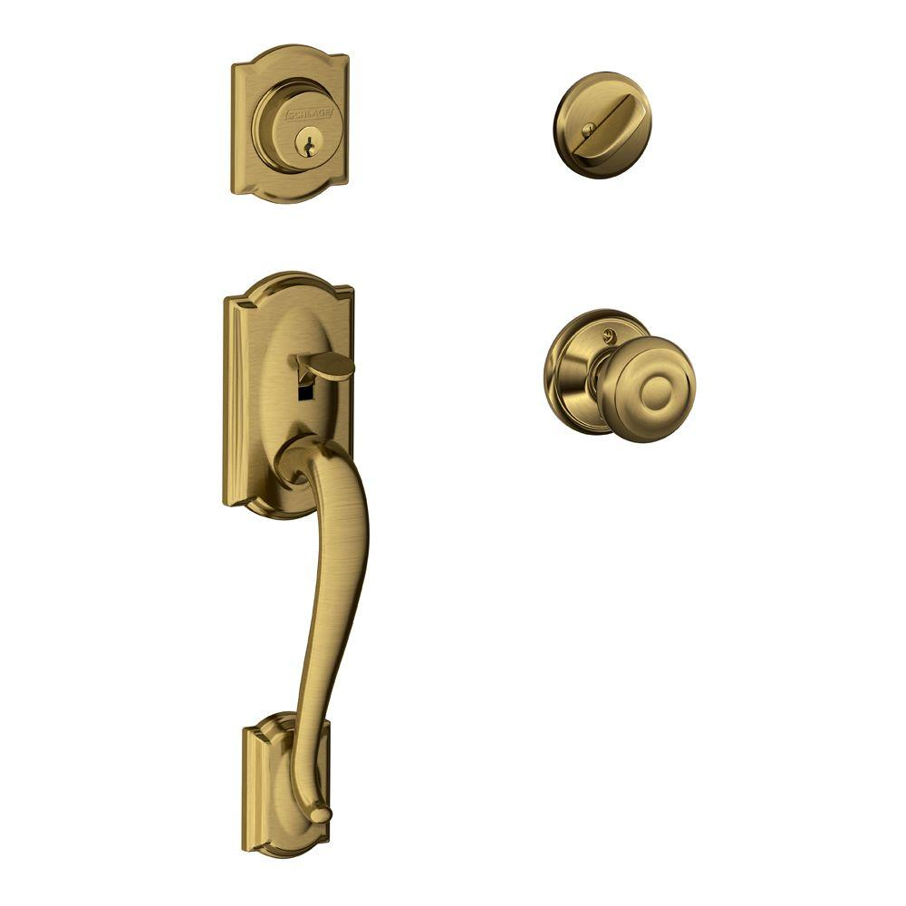 Schlage Camelot Antique Brass Single Cylinder Deadbolt with Georgian ...
