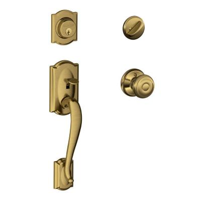 Camelot Antique Brass Single Cylinder Deadbolt with Georgian Knob Door Handleset