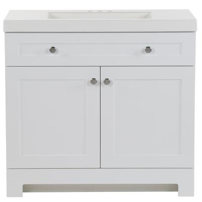 Everdean 36.5 in. W x 19 in. D x 34 in. H Bath Vanity in White with Cultured Marble Vanity Top in White with White Sink
