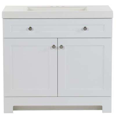 Everdean 36.5 in. W x 19 in. D x 34 in. H Bath Vanity in White with Cultured Marble Vanity Top in White with White Basin