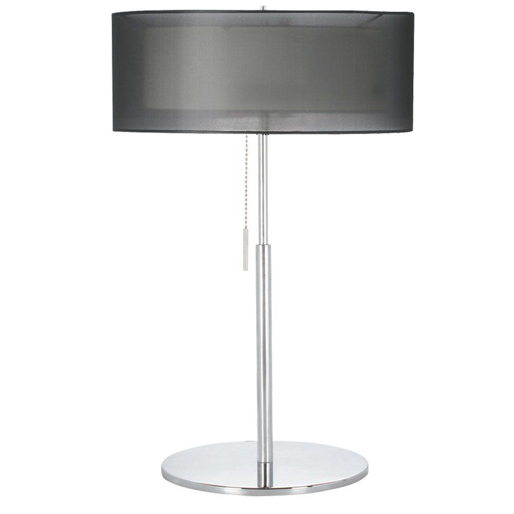 Catherine 22 in. Incandescent Polished Chrome Table Lamp with Black Organza