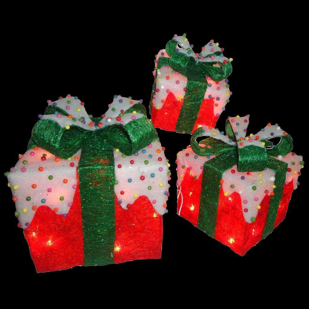 Pre-Lit Red Sisal Gift Box Assortment (3-Piece)