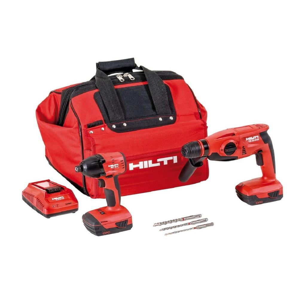 22-Volt Lithium-Ion Cordless Rotary Hammer Drill/Impact Driver Compact Combo Kit