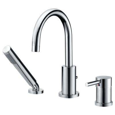 Mist Series Single-Handle Deck-Mount Roman Tub Faucet with Handshower in Polished Chrome