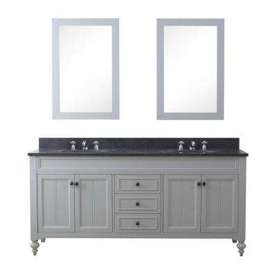 Potenza 72 in. W x 33 in. H Vanity in Earl Grey with Granite Vanity Top in Blue Limestone with White Basin and Mirrors