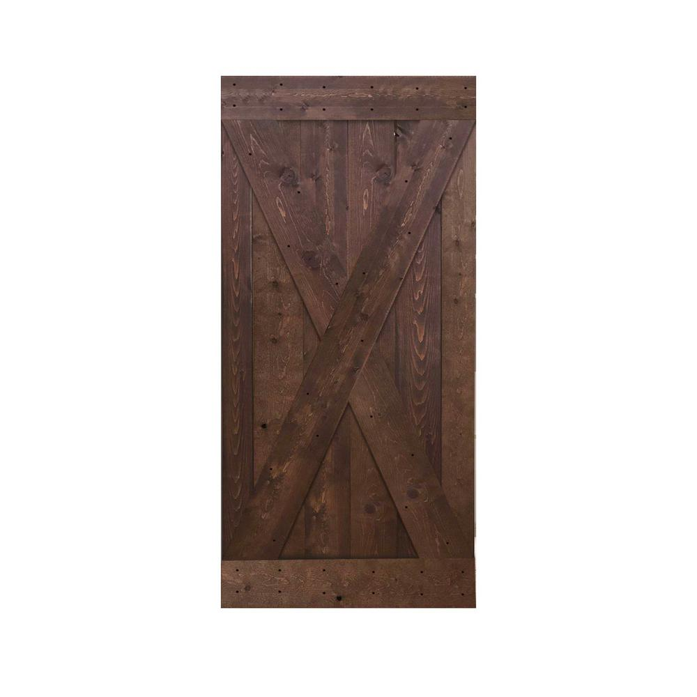 calhome 36 in x 84 in knotty pine solid wood interior barn door