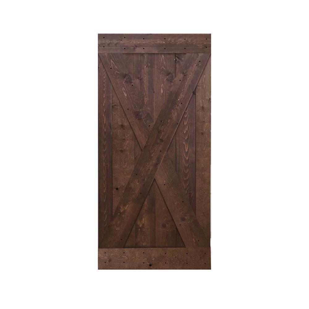 Calhome 36 In X 84 In Knotty Pine Solid Wood Interior Barn Door Slab Door Diy X36b The Home Depot