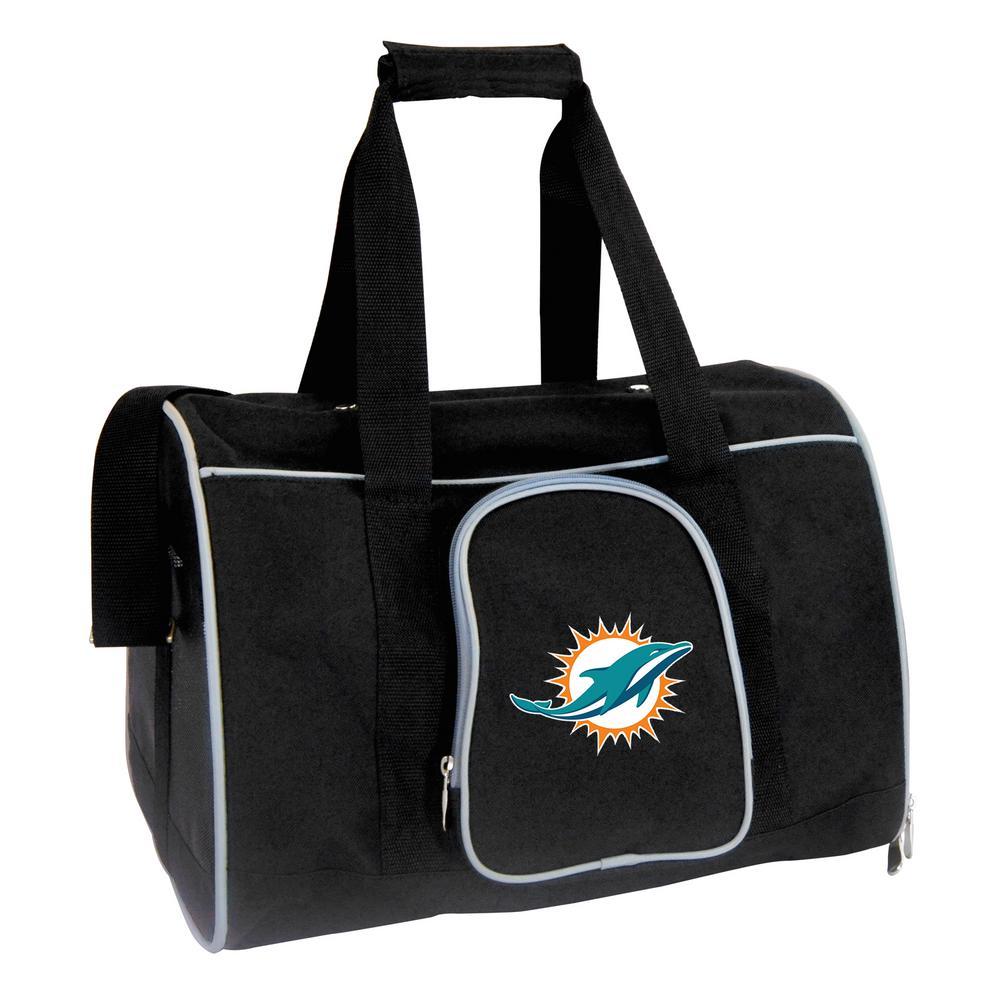 Denco NFL Miami Dolphins Pet Carrier Premium 16 in. Bag in Gray, Team Color