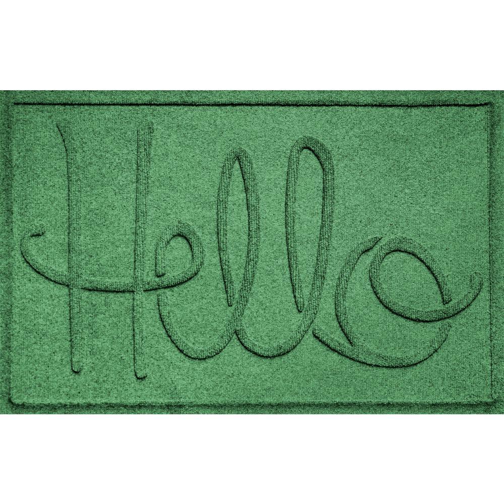 Simple Hello Light Green 24 in. x 36 in. Polypropylene Door Mat