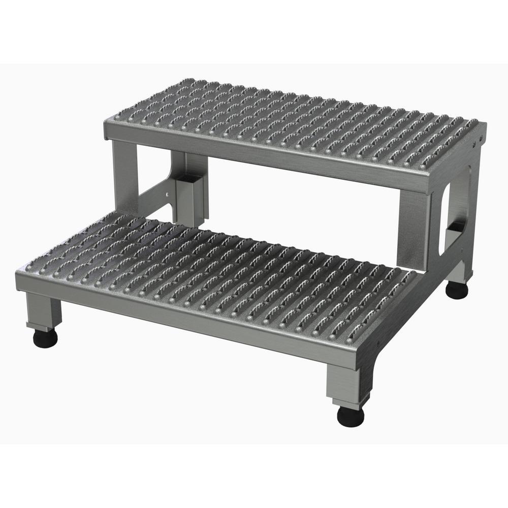 Vestil 24 inch x 23 inch 2-Step Adjustable Aluminum Step Mate Stand by Vestil